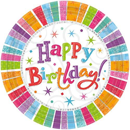 amscan 8 Papierteller Happy Birthday