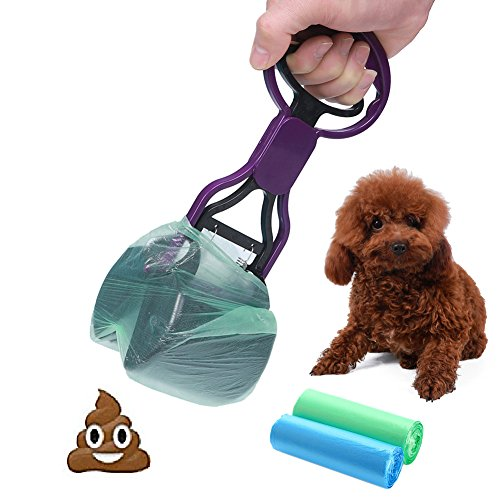 CINOTON Pet Waste Shovels Cleaning Tool Pooper Scooper Handle Grabber Pick up Jaw for Dog and Cats (Purple)