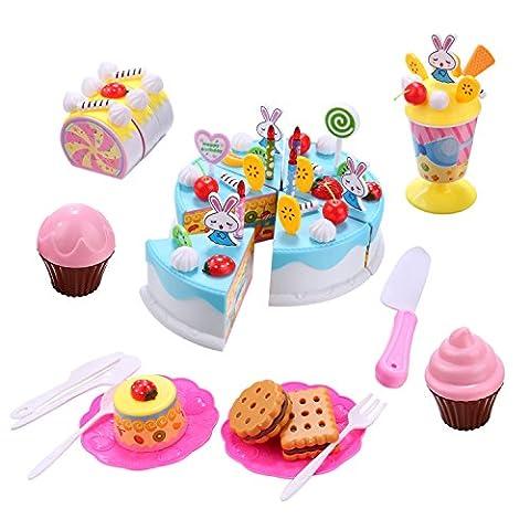 84 PCS Pretend Play Kitchen Food Toy Set For Kids Girls-Blue DIY Fruit Cake Ice Cream Kit