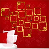 BEST DECOR 24 Square Golden(Pack Of 24)Acrylic Sticker, 3D Acrylic Sticker, 3D Mirror, 3D Acrylic Wall Sticker, 3D Acrylic Stickers For Wall, 3D Acrylic Mirror Stickers For Living Room, Bedroom, Kids Room, 3D Acrylic Mural For Home & Offices Dé