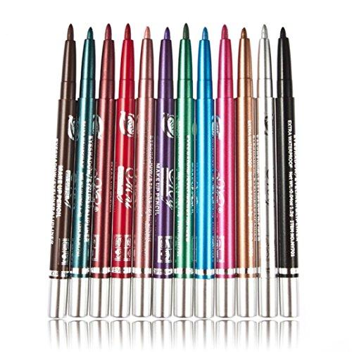 Tonsee 12pcs / Set Femmes Cosmétiques Maquillage Imperméable Eye Liner Pen