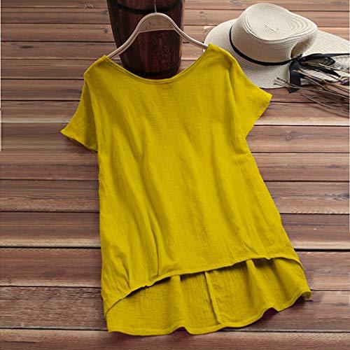 TIFIY T Shirt Damen, Frauen Sport Oberteile Frauen Lose Bluse Leinen Einfarbig T-Shirt Lässige Plain Shirt Asymmetrische Tops(Gelb,XL)