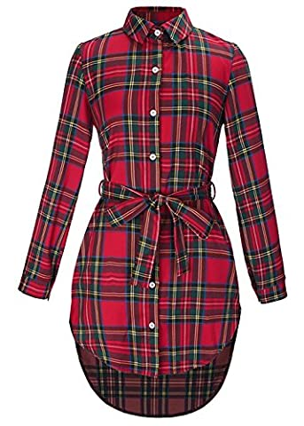 Women's Grid Plaid Cotton Drawstring Belted Adjustable Sleeve High Low Shirt Dress