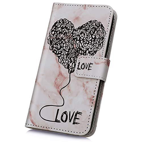 JAWSEU Handyhülle kompatibel mit iPhone XR Hülle Case Leder Tasche Liebe Herz Marmor PU Leder Flip Case Silikon Schutzhülle Handytasche Wallet Tasche Brieftasche Ständer Klapphülle,Lila