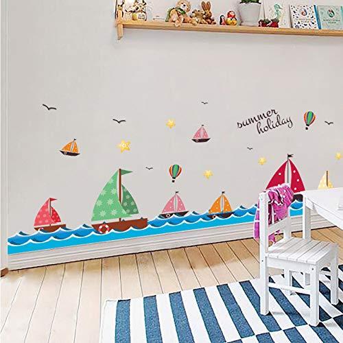 Zxdcd Segelboot Auf Dem Meer Wandaufkleber Vögel Sterne Cartoon Wand Grenze Decals Sockellinie Tapete Poster Wohnkultur Wandbild