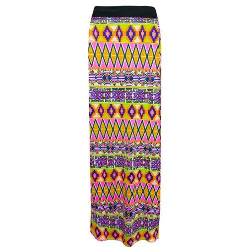 Flirty Wardrobe Jupe longue pour femme Noir imprimé Elasricated jupe + ceinture Taille 36–50 Blanc - Aztec Multi