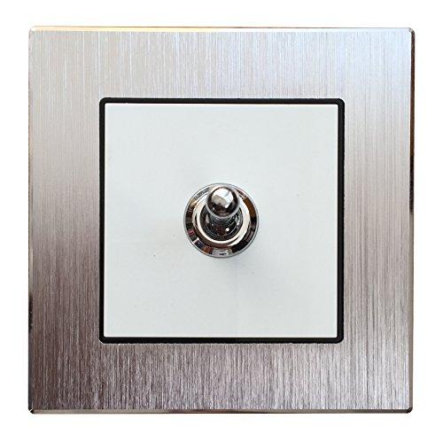 Wallpad Silber aus gebürstetem Aluminium Panel Schalter Steckdose - Toggle 1 Gang 1 Way -