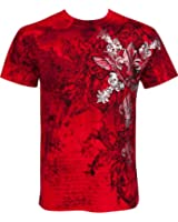 Sakkas Vines and Fleur De Lis Metallic Silver Embossed Short Sleeve Crew Neck Cotton Mens Fashion T-Shirt