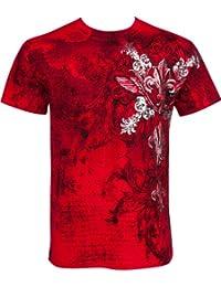 Sakkas Vignes et Fleur de Lys En relief argent métallique Manches courtes Col rond Coton T-Shirt Fashion homme