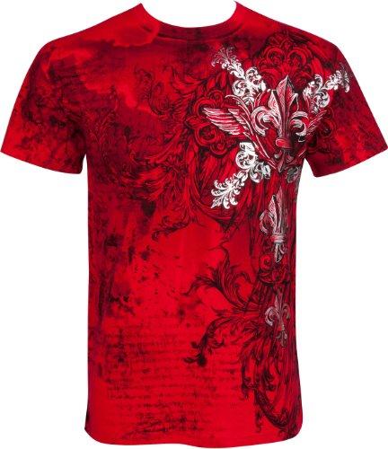 Sakkas fleur de lis e vines moda uomo t-shirt a maniche corte girocollo con silver metallizzato goffrato-rosso-xl