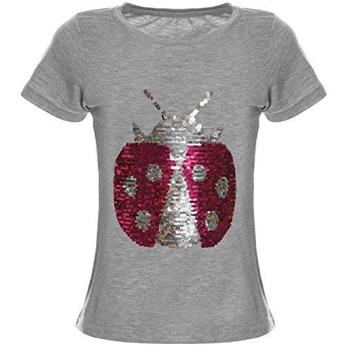 BEZLIT Mädchen Wendepailletten T-Shirt Top Bluse Kurzarm Shirt 21356, Farbe:Grau;Größe:116