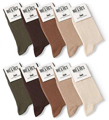 10 Paar Socken von Mat & Vic's für Sie und Ihn - Cotton classic bequem ohne drückende Naht - angenehmer Komfort-Bund - OEKO-TEX Standard 100 (43-46, Earth Colors) -