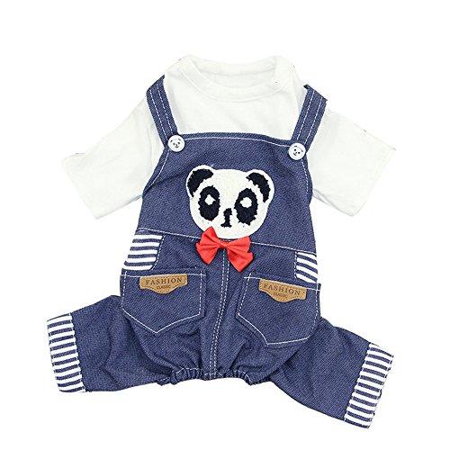 URIJK Hund Kleidung Latzhose Latzjeans Panda Muster T-Shirt Welpen Pullover Baumwolle Sommer T-Shirt Weste Haustier Kostüme Bekleidung Teddy Dog Weste