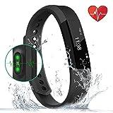 Fitness-Tracker, Smart-Uhr mit Herzschlag-Monitor, Schritt-Tracker, Kalorienzähler, Anruf, SMS, Whatsapp, Touchscreen, Armband, Wasserdicht, Activitäts-Tracker, Schrittzähler, für IOS, Android, Schwarz, schwarz