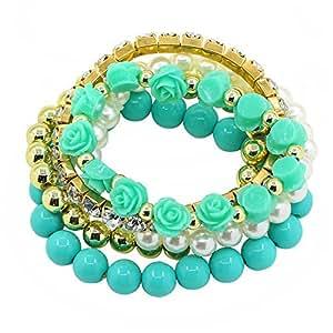 Fashion Blume Perle Beads für Armbandkette Armband Armreif Schmuck (Blau)