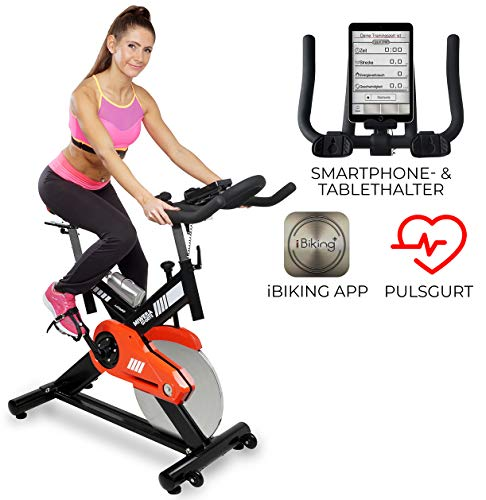 Miweba Sports Profi Indoor Cycling Bike MS400 Ergometer Heimtrainer - App-Steuerung - 22 Kg Schwungmasse - Pulsgurt