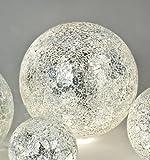 Formano 655837 Trendige Kugelleuchte Kugel-Mosaik silber mit LED Licht 20 cm | Stilechte Tischleuchte in Kugel Form | Perfekt als Nachttischlampe