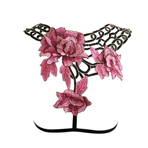 QUINTRA Frauen Sexy Applikationen Blume Hohl Aus Elastischen Käfig Bh Verband Riemchen Schulterfreien Bh Bustierober (XL) (Blumen-seide Bauer-spitze)