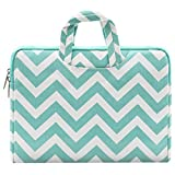 MOSISO Chevron Style Canvas Portable Porte-Documents Sac à Main étui de Transport Housse pour 11-11,6 Pouces MacBook Air, Ultrabook Netbook Tablet, Chaud Bleu