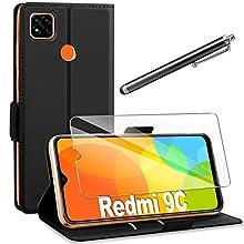 AROYI Cover Compatibile con Xiaomi Redmi 9C Nero+HD Pellicola Protettiva,Custodia Flip Portafoglio in PU Pelle Libro con Slot Schede Pieghevole 360 Protettiva Silicone TPU Bumper Caso