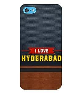 HiFi Designer Phone Back Case Cover Apple iPhone 6 Plus :: Apple iPhone 6+ ( I Love Hyderabad Blue and Wood Look )