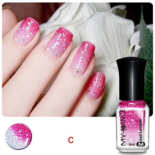hunpta Thermal Nail Varnish Color Changing Peel Off Varnish Beauty Sexy Cosmetic (C)