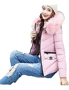 FNKDOR Remiendo de las mujeres ocasionales más gruesas de invierno Slim Down Lammy abrigo de la capa de la chaqueta