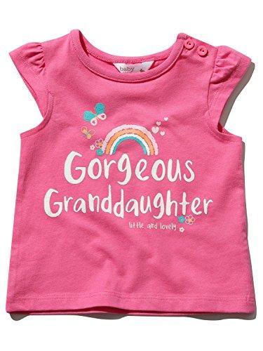 M&Co Baby Girl Pink Short Cap Sleeve Crew Neck Granddaughter Slogan Print T-Shirt