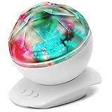 SOLMORE LED Nachtlicht mit Musik Projektion Nachtischlampe Schlummerlicht Ozeanwellen Dekorative Wecker Licht Farbwechsel Lampe mit Musik-Eingang/USB-Kabel/ Klinkenkabel Wellness Licht Einschlafhilfe für Baby Kinder Kindergeburtstag Geschenk Schlafzimmer Wohnzimmer Party MP3 Handy PC