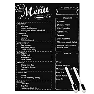 "MoKo Magnetic Menu Board for Kitchen Fridge with 2 Markers, 16""x12"" Weekly Meal Planner and Grocery List Notepad Dry Erase Board for Refrigerator - Black"