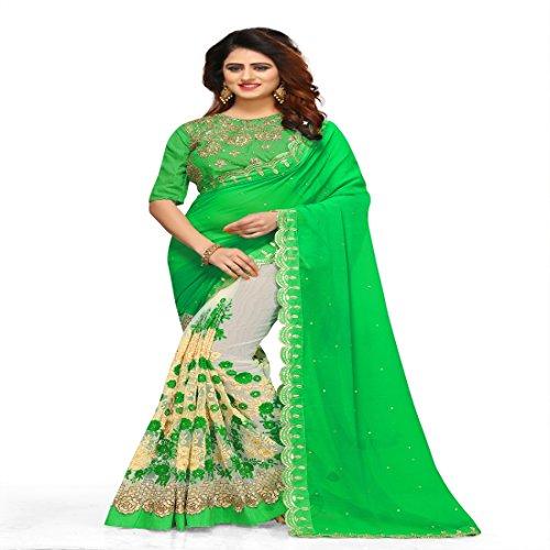Priyanka Trends Net Saree With Blouse Piece (Green_PRTSA2489_Freesize)