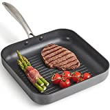 VonShef Hard Anodised 25cm Griddle Pan | Non Stick | All Hob Types