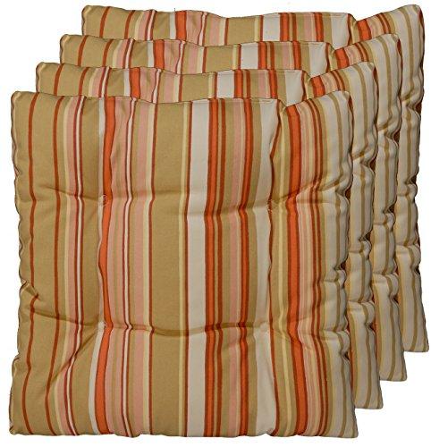 4er Set Sitz-kissen aus deutscher Herstellung, Stuhl-polster Apricot, Rost, Beige 40x40 cm (Sitzkissen Rost)