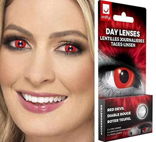 Smiffy\'s 47105 Red Devil Tageslinsen weich, 2 Stück/BC 8.7 mm/DIA 14.5 mm / 0 Dioptrien