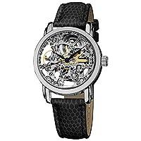 Akribos XXIV Women's Skeleton Automatic Stainless Steel Exhibition Dial Silver Black Genuine Leather Strap Watch - AK431