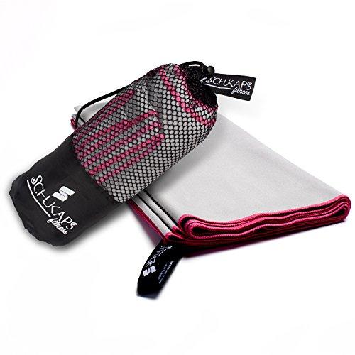 Schukaps Mikrofaser Reisehandtuch Handtücher Extraleichtes und kompaktes Größe schnell trocknend antibakteriell sehr saugfähig - ideal für wie Fitness Yoga und Outdoor Sport (150x80cm, GRAU)