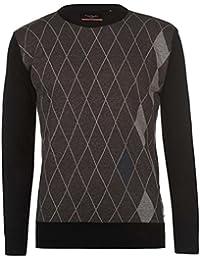 Pierre Cardin Mens New Season Argyle Knitted Jumper Crew Neck V Neck and Quarter Zip