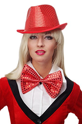 DRESS ME UP - Fliege Clownfliege Clown groß Bowtie rot Glitzer Pailletten Riesenfliege VQ-029-red