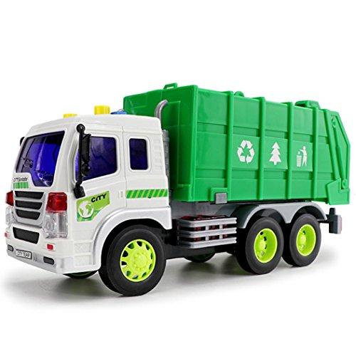 Zeile Sechs Licht (Kinder Spielzeug Trägheit Musik Beleuchtung sanitärem Auto, mamum Luftreiniger Recycle Trash Auto Truck Reibung powered 1: 16mit Licht & Musik & 6Räder Einheitsgröße a)