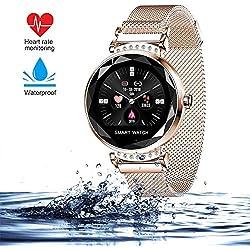 wetwgvsa Montre Connectée Femmes Sport Fitness Tracker d'Activité Pression artérielle Moniteur Cardiofréquencemètre Moniteur de Sommeil Smartwatch H2 pour Femme