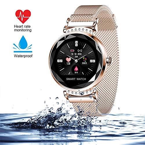 Gold-farb-bildschirm (wetwgvsa Smartwatch für Damen Fitness Armband H2 Uhr Wasserdicht mit Herzfrequenz Blutdruck Pulsmesser Farbbildschirm Aktivitätstracker Schlafmonitor Schrittzähler für IOS Android)