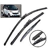 Xukey - Set di 3 spazzole tergicristallo anteriori e posteriori per ForTwo W451 Coupe 2007-2014