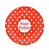 Hacoly 6er rund Pappteller bunt Wellenpunkt einweggeschirr hochwertig Einwegteller Papierbesteck umweltfreundlich biologisch abbaubar kompostierbar happy birthday für kindergeburtstag - 7 Zoll Rot