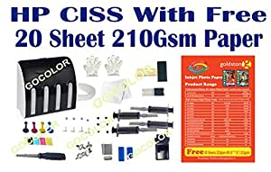 GoColor Empty Continuous Ink Tank Supply System CISS Kit Compatible for HP Inkjet Printer