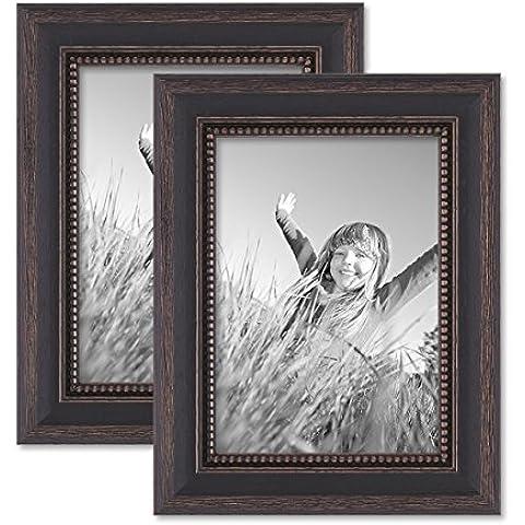Juego de 2 marcos 13x18 cm marrón oscuro, estilo casa rural, madera maciza con cristal y accesorios / marco de fotos / añejo