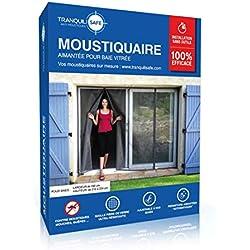 Moustiquaire ajustable aimantée TRANQUILISAFE® pour baie vitrée avec 2 ouvertures aimantée – moustiquaire magnétique – moustiquaire automatique – protection anti moustique (L 180 - H 216/224)
