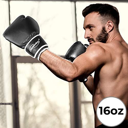 Guantoni da Boxe | Taglia 10/12/14/16 Oz, Adulto Unisex, Allenamento, Kick Boxing, Muay Thai, MMA, UFC, Sparring, Nero / Bianco | Guanti da Pugilato, da Sacco, da Combattimento Boxing Gloves (16 oz)