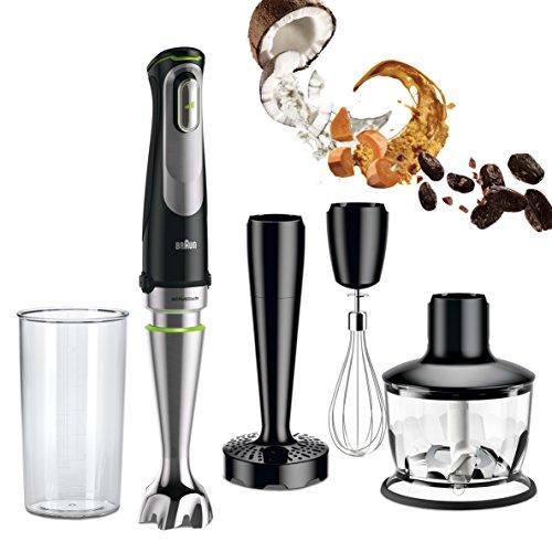 Braun Minipimer 9 MQ9037X Sauce Batidora de Mano Eléctrica, Tecnología Active Blade, Campana Anti-salpicaduras, Picadora de 0.5 l y Varillas, 1000 W, Negro y Plata