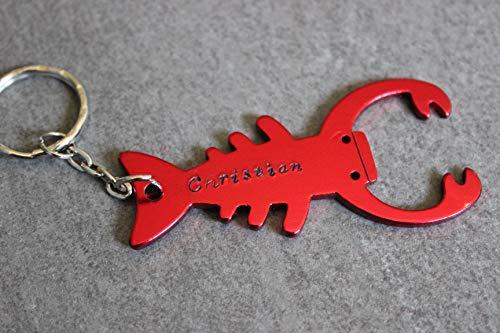 (Schlüsselanhänger Hummerkrabbe rot mit Flaschenöffner Namens-Gravur)