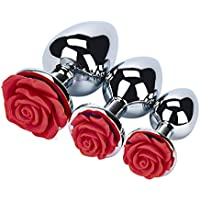 BaZhaHei Productos para adultos Base en Forma de Rosa de 3 Piezas con Joyas Piedra de Nacimiento Juego Anal Sexo con Joya de Rosa Un Juego de Juguetes de Sexo Anal Plateado de Metal Plateado Trasero.